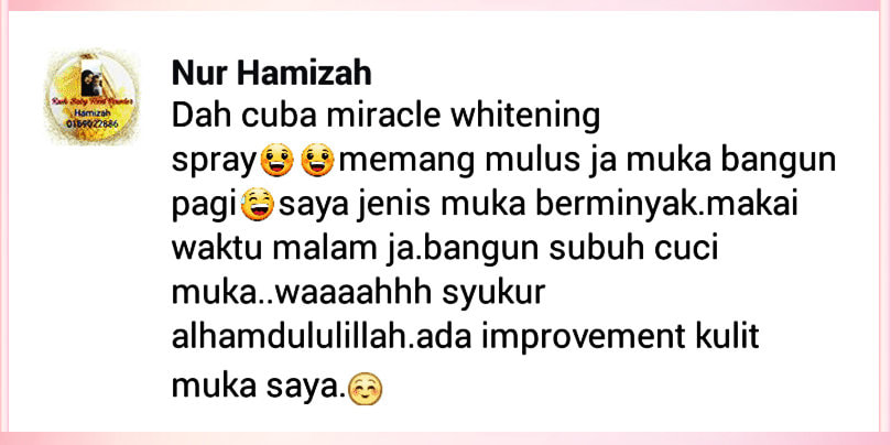 testimoni pengguna miracle whitening spray 2